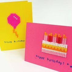 Perler bead birthday cards by sescreative