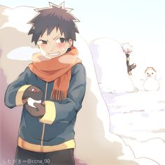 Obito & Kakashi in a snowball fight! If chakra is allowed, you know who you're gonna bet on :)
