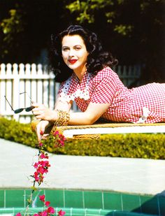 Hedy Lamarr (1945) vintage fashion style color photo print ad movie star portrait day casual dress house gingham red white mid 40s