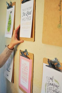 Clipboard Gallery Wall: organize school papers that have to be left out all week (reading log, long-term projects, etc.)