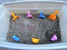 Pirate Games {Jake and the Neverland Pirates Party} I love this idea!  We could set up a bucket of sand with buried treasure! :)