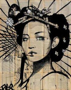 Loui Jover born April 1967 is an Australian painter and artist He is known for his artwork in ink wash paintings on vintage book pages Jover started his w Art Geisha, Geisha Kunst, Art Lotus, Lotus Kunst, Portrait Au Crayon, Pencil Portrait, Art And Illustration, Inspiration Art, Art Plastique
