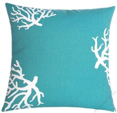 """18"""" sq. TURQUOISE CORAL decorative throw pillow cover #TheModernPillow"""