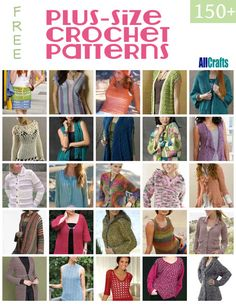 Crochet Clothes 150 Free Plus-size Crochet Patterns - All wonderful free patterns that include a nice variety of sizes. Lots of great patterns for sweaters, cardigans, tunics, jackets, shawls and much more! Crochet Bolero, Crochet Jacket, Crochet Cardigan, Crochet Stitches, Knit Crochet, Crochet Sweaters, Crochet Tops, Ravelry Crochet, Crochet Shorts