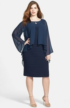 SO CUTE! Adrianna Papell 'Poncho' Banded Dress (Plus Size) | Nordstrom