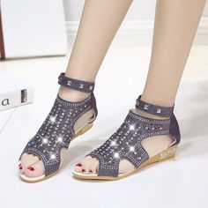 Open High Ankle Sandals With Crystal Sand-Alias Bling Ankle Strap Wedges, Black Wedge Shoes, Wedge Sandals, Diamond Shoes, Heeled Flip Flops, Womens Summer Shoes, Rhinestone Sandals, Online Shopping Shoes, Fashion Shoes