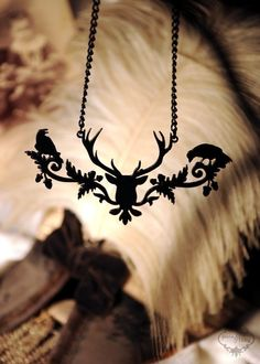 Deer Head Raven silhouette jewelry statement necklace in black stainless steel - steampunk stag with birds. $34.00, via Etsy.