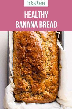 Healthy Banana Bread (Video) - iFOODreal - Healthy Family Recipes Simple, easy, moist and super Healthy Banana Bread Recipe with applesauce, whole wheat flour, maple Super Healthy Banana Bread, Banana Bread Easy Moist, No Sugar Banana Bread, Whole Wheat Banana Bread, Healthy Bread Recipes, Banana Bread Recipes, Healthy Baking, Banana Recipes For Diabetics, Banana Bread Apple Sauce