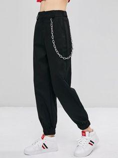 Chain Embellished Jogger Pants - Black S Fashion Pants, Fashion Outfits, Pants For Women, Clothes For Women, Mode Hijab, Two Piece Outfit, Mode Outfits, Jogger Pants, Trendy Fashion