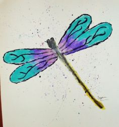 Dragon Fly Painting 16 x 20 inch original signed artwork spring home decor #Impressionism.  This is my 16 year old daughter's artwork!! sold