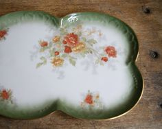 Limoges Dessert Tray with Autumn Flowers. $95.00, via Etsy.
