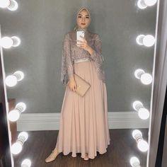 Wearing this beautiful dress from miaaassegaf Hijab by elzattahijab Hijab Prom Dress, Dress Brukat, Hijab Gown, Hijab Evening Dress, Hijab Style Dress, Dress Outfits, Party Dress, Fashion Outfits, Kebaya Hijab