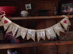 Mr. and Mrs. Burlap Bunting in White with Hearts, Burlap Bunting, Wedding Decor, Wedding Bunting, Wedding Photo Prop, Pennant, Garland
