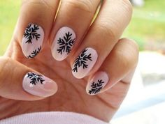 Image via We Heart It https://weheartit.com/entry/145749412/via/1641162 #christmas #cute #nails #pink #print #snow #star #gelnails