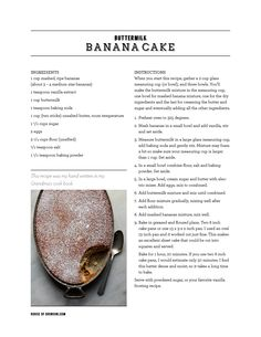 This recipe was tucked away in my Grandma's cookbook. It's quickly become one of our favorites. / House of Brinson  Banana Cake Recipe Buttermilk Old Fashioned Home Made from Scratch Downloadable