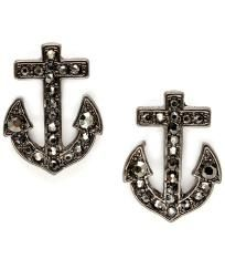 BLACK CRYSTAL STUDDED ANCHOR EARRINGS $6.00