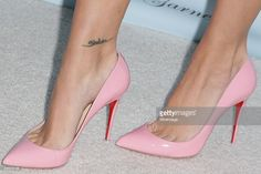 Fashion blogger Kier Mellour, shoe detail, arrives at a party celebrating the launch of Kimberley Garner's swimsuit line at The London on March 31, 2015 in West Hollywood, California.