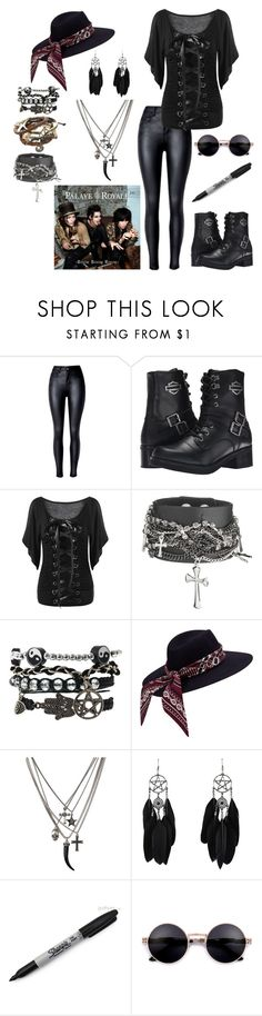 """""""Yes, Another Palaye Royale Set"""" by alexandria-wolf-palayeroyale ❤ liked on Polyvore featuring Harley-Davidson, Hot Topic and Sharpie"""