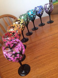 Hand Painted Cherry Blossom Tree Wine Glasses - Rainbow of colors. Created by LessThanThree Designs. Wine Glass Crafts, Wine Craft, Wine Bottle Crafts, Bottle Art, Decorated Wine Glasses, Hand Painted Wine Glasses, Wine Bottle Glasses, Wine Bottles, Wine Glass Designs