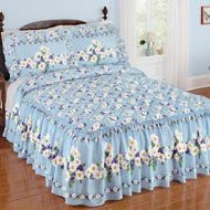 Worthington Patchwork Ruffled Bedspread from Collections Etc. Bed Cover Design, Bed Decor, Blue And White Pillows, Interior Design Dining Room, Ruffle Bedding, Designer Bed Sheets, Bedroom Decor, Home Decor, Floral Bedspread
