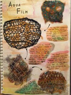 Developments of textile process, aqua film. A Level Textiles Sketchbook, Sketchbook Layout, Gcse Art Sketchbook, Drawing Journal, Fashion Sketchbook, Sketchbook Inspiration, Textiles Techniques, High Art, Fabric Manipulation