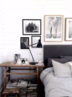 Scandinavian bedroom with art by Pella Hedeby
