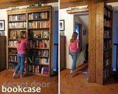 How To Build A Sliding Door Bookshelf For Your Secret Room...http://homestead-and-survival.com/how-to-build-a-sliding-door-bookshelf-for-your-secret-room/