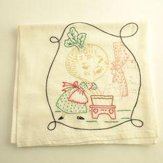 Vintage Anthropomorphic Kitchen Tea Towel