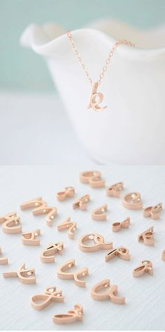 Love this initial script necklace in rose gold! http://rstyle.me/n/fjvkxnyg6