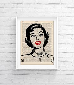 Vintage Book Print Art Wall decor Art Page Decorative Art Book Page Retro Poster Vintage Illustration Gift poster Woman Retro 005 - pinned by pin4etsy.com