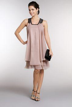 Idée robe soirée/mariage  Robe mousseline encolure bijoux beige, Bephora du 36 au 54 _ Tati