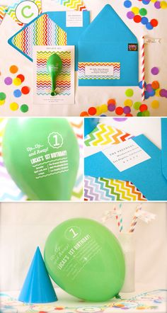 Birthday invitation with the event details printed on a balloon, to be read after inflating. Fun!