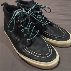 Vans Sk8 Hi Leather Shoes Mens 9.5 Women's 11 Vans Sk8 Hi limited edition Syndicate Leather shoes.  Lightly worn, in excellent condition, no tears or stains, only a few scuff marks to the rubber. Color is a dark green/blue. Mens size 9.5, EUR 42.5. Vans Shoes Sneakers