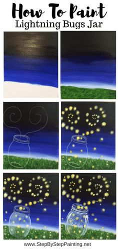 This step by step guide for beginners will show you how to paint a mason jar with fireflies (lightning bugs). The tutorial comes with a template for the mason jar. Great for beginners and kids! paintings dark How To Paint Fireflies and Mason Jar Easy Canvas Art, Simple Canvas Paintings, Easy Canvas Painting, Easy Paintings, Diy Painting, Firefly Painting, Family Painting, Matte Painting, Painting For Kids