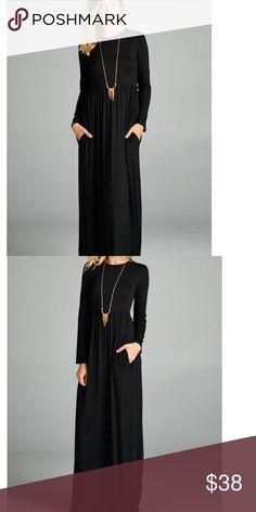 Black long sleeve Maxi Dress with pockets Everyone's favorite Maxi Dress is here. Fitted on top and flowy on bottom. Cute pockets for that laid back feel. Such a cute and cozy dress. Wardrobe staple. Dresses Maxi