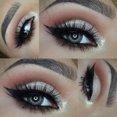 #neutral #cut_crease #makeup @cherryliicious: champagne shimmery lid, brown cut crease blended into warm brown, black winged eyeliner, smokey lower lashline
