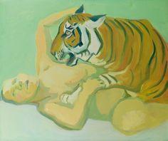 Maria Lassnig Dormir con un tigre Female Painters, Instagram Artist, Famous Art, Contemporary Paintings, Figurative Art, Portrait, Art Day, Modern Art, Pop Art