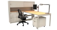 Office Design: Knoll Open Plan Workstation with Single Monitor arm Clamp Mount