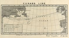 This Cunard Line map from 1912 shows the proposed route of the Titanic's voyage.  The hand-drawn additions were made by Bernice Palmer Ellis shortly after the sinking.  The loss of the Titanic undermined people's burgeoning faith in an era of advancing technology, economic progress, and social privilege.