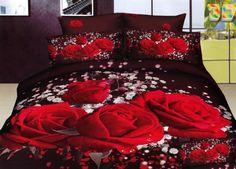 Czerwone róże satynowa bordowa pościel