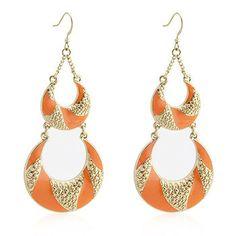 Orange Enamel Chandelier Earrings - Glytterati