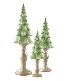 This Pedestal Tree Décor Set.  No tutorial, but we could make it with clay, bake it and put the tree on a candlestick.  Looks so pretty !!