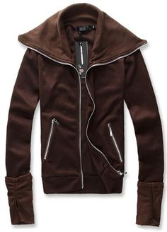 Men Winter Korean Style Tweet Design Individual Glove Zipper Coffee Cotton Hoodies M/L/XL@WH0141c