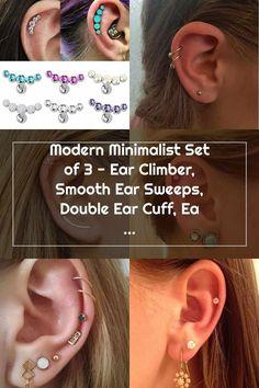 Double Cartilage Piercing Etsy earrings Set of 3 - Ear Climber, Double Ear Cuff $30 Double Cartilage Piercing Double Cartilage Piercing, Cartilage Earrings, Ear Piercings, Helix Hoop, Christina Aguilera, Climber, Modern Minimalist, Etsy Earrings, Earring Set
