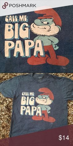Papa Smurf•Call Me Big Papa Papa Smurf size large T-shirt call me big papa Tops Tees - Short Sleeve