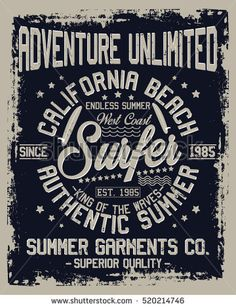 California beach, authentic summer, superior quality typography, t-shirt graphics, vectors