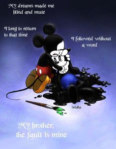 Disney brothers story by twisted-wind on DeviantArt Disney Pixar, Sad Disney, Disney Memes, Disney Fan Art, Cute Disney, Disney And Dreamworks, Disney Magic, Disney Mickey, Triste Disney