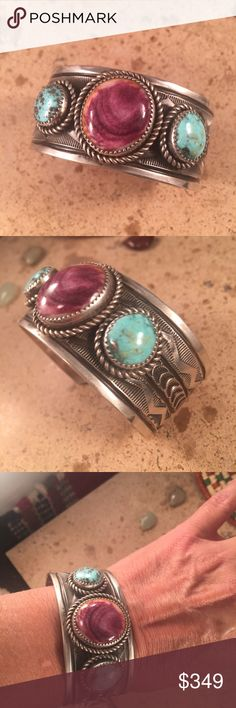"""Navajo Turquoise & Spiny Oyster Sterling Cuff This is a wonderful piece made by Stewart Billie. It is made of Sterling Silver, Kingman Turquoise and Spiny Oyster Shell. This piece Measures 1 1/8 inches wide, 5 1/2 """" inside circumference and a 1 inch gap. The bracelet  is signed by the artist and stamped sterling.   Please contact me with any questions and thank you for looking. Jewelry Bracelets"""