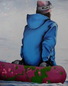 Snow Girl snowboard winter sport oil painting by BagalioPaintings, $19.00