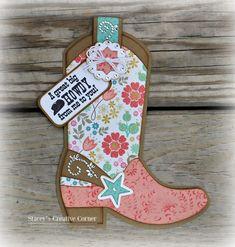 Cowboy Boot Shaped A7 Card Design ID 80697